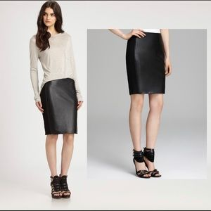 Anthropologie stretch faux leather/knit skirt 14